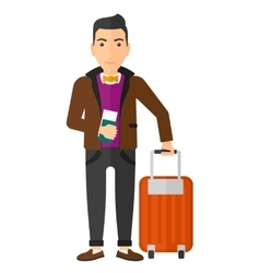 Man standing with suitcase and holding ticket vector image