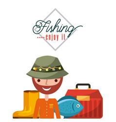 Necessary fishing objects vector