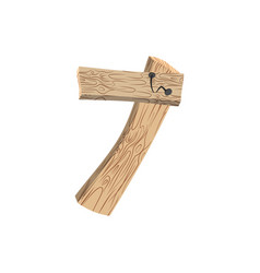 Number 7 wood board font seven symbol plank and vector