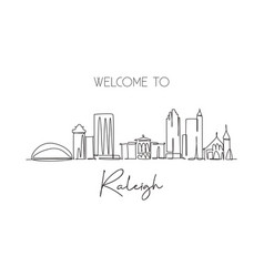 one single line drawing raleigh city skyline vector image