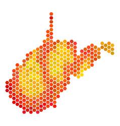 Orange hexagon west virginia state map vector