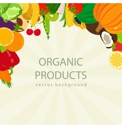 Organic food background with colorful fruits and vector image