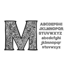 ornate decorative font monogram letters vector image