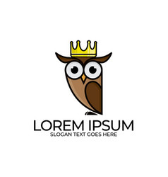 Owl bird with crown template flat style design vector