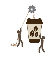 People with pulleys hanging the coffee disposable vector