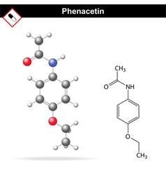 Phenacetin structural chemical formula vector image