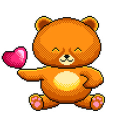 pixel cute teddy bear detailed isolated vector image