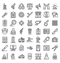 police equipment icons set outline style vector image