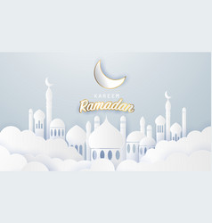 Ramadan kareem 2019 background paper cut vector