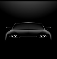 Realistic car in the dark front view vector