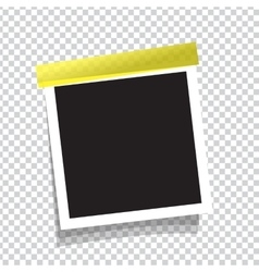 Realistic photo frame on sticky tape vector