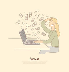 receiving big payment woman winning digital vector image