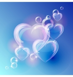 Romantic background with bubble hearts shapes on vector image