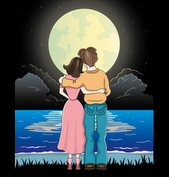 Romantic couple and moonlit night vector