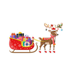 Santa claus sleigh full gifts and his reindeer vector