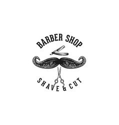Scissor mustache and razor blade barber logo vector