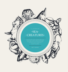 Sea creatures - modern drawn round banner template vector