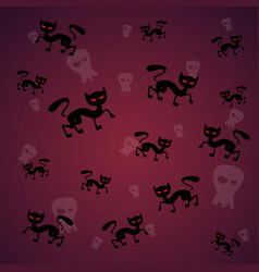 seamless pattern with black cat and skull happy vector image