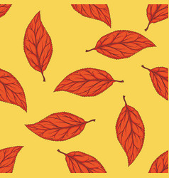 seamless pattern with red dried beech leaf vector image