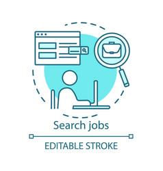 Search job concept icon work finding idea thin vector