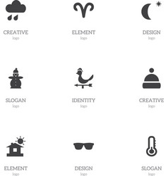 Set of 9 editable weather icons includes symbols vector