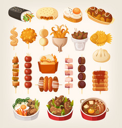 set of delicious fast foods from asian streets vector image