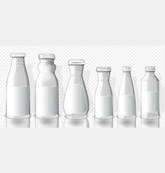 set of full juice bottles mockup on transparent vector image