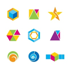 Set of geometrical logos vector
