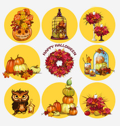 set of ripe pumpkins wreath of dried flowers owl vector image