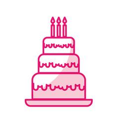 Shadow cute birthday cake cartoon vector