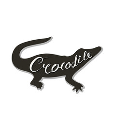 Silhouette of a crocodile on a white background vector