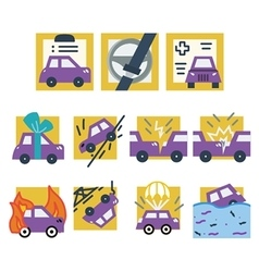 Simple colored icons for car insurance vector image