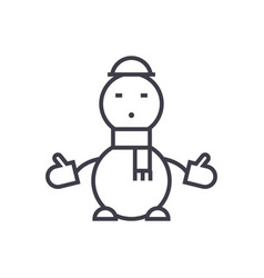 snowman concept thin line icon symbol vector image