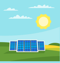 solar panels in the meadow vector image