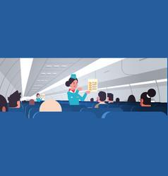 stewardess explaining for passengers instructions vector image