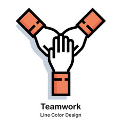 Teamwork line color icon vector