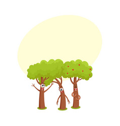Three funny tree characters talking sad hussing vector