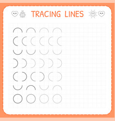 Tracing lines worksheet for kids basic writing vector