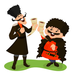 Two cossacks with wine horns vector