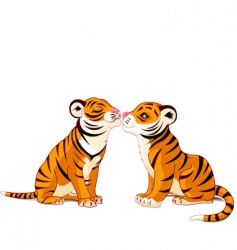 two tigers in love vector image