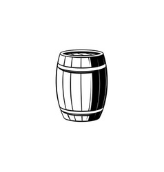 Wooden barrel with metal hoops for storage of vector