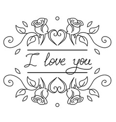 words i love you hand drawn vector image