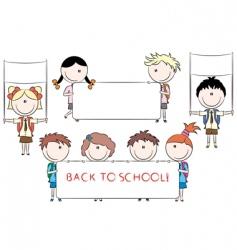 cheerful happy cute kids holdi vector image