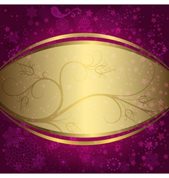 Christmas purple and golden frame vector image vector image