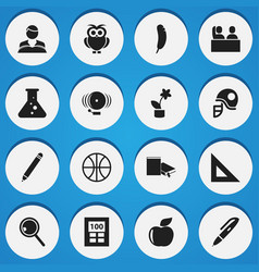 set of 16 editable education icons includes vector image vector image