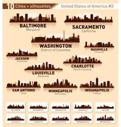 Skyline city set 10 cities of USA 3 vector image vector image
