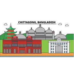 chittagong bangladesh outline city skyline vector image vector image