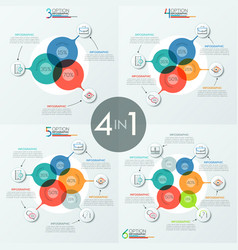 set of modern infographic design templates with 3 vector image vector image