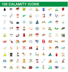 100 calamity icons set cartoon style vector image