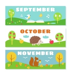 Autumn Months Calendar Flashcards Set Nature and vector image vector image